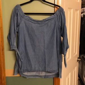 Loft chambray off the shoulder top
